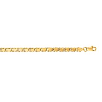 14 Karat Yellow Gold 3.3mm 7 Inch Heart Chain Bracelet