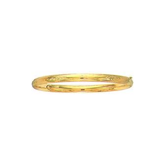 14 Karat Yellow Gold 5.0mm 7 Inch Florentine Round Dome Classic Bangle