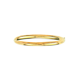 14 Karat Yellow Gold 5.0mm 7 Inch Plain Shiny Round Dome Classic Bangle