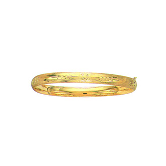 14 Karat Yellow Gold 6.0mm 7 Inch Florentine Round Dome Classic Bangle