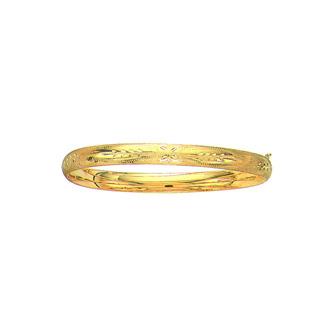 14 Karat Yellow Gold 6.0mm 8 Inch Florentine Round Dome Classic Bangle