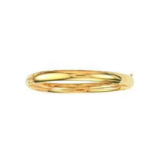 14 Karat Yellow Gold 6.0mm 7 Inch Plain Shiny Round Dome Classic Bangle
