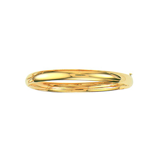 14 Karat Yellow Gold 6.0mm 8 Inch Plain Shiny Round Dome Classic Bangle