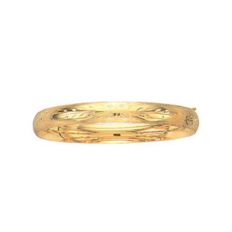 14 Karat Yellow Gold 8.0mm 8 Inch Florentine Round Dome Classic Bangle