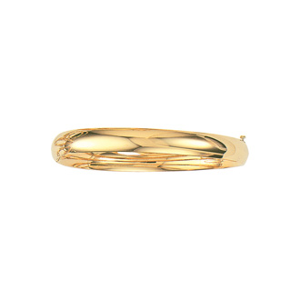 14 Karat Yellow Gold 8.0mm 8 Inch Plain Shiny Round Dome Classic Bangle