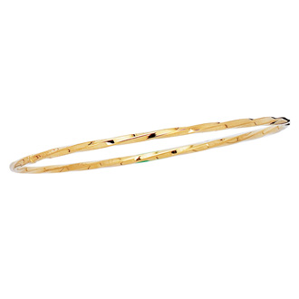 14 Karat Yellow Gold 2.50mm 8 Inch Shiny Twisted Round Tube Stackable Bangle
