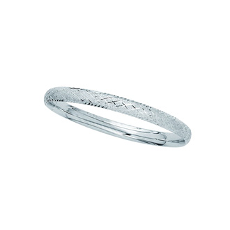 14 Karat White Gold 6.0mm 7 Inch Shiny Textured Sparkle Bangle with Diamond Shape Pattern