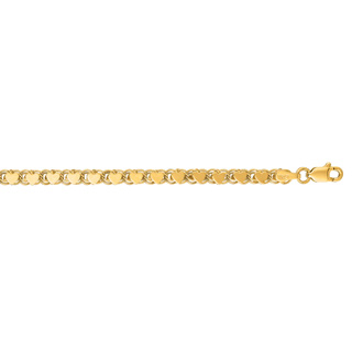 14 Karat Yellow Gold 3.3mm 10 Inch Diamond-Cut Heart Ring Chain Anklet