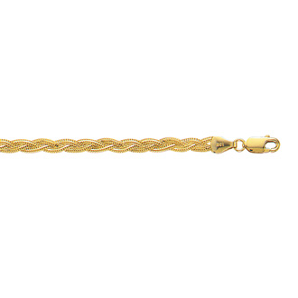 14 Karat Yellow Gold 3.5mm 10 Inch Diamond Cut Braided Fox Chain Anklet