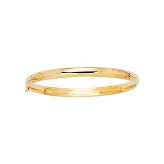 14 Karat Yellow Gold 5.5mm 5.50 Inch Children's All Shiny Bangle