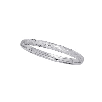 14 Karat White Gold 5.5mm 5.50 Inch Children's Shiny Diamond Cut Bangle with Diamond Pattern