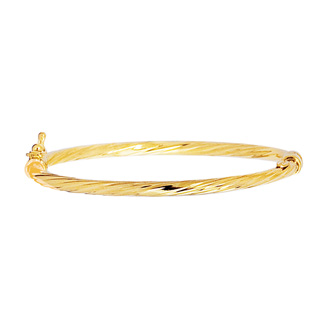 14 Karat Yellow Gold 5.5mm 5.50 Inch Children's Shiny Round Tube Twisted Bangle