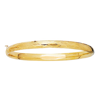 14 Karat Yellow Gold 5.5mm 5.50 Inch Children's Shiny Diamond Cut Florentine Bangle
