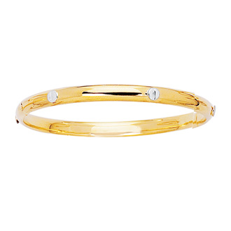 14 Karat Yellow & White Gold 5.5mm 5.50 Inch Children's All Shiny Bangle With White Nail Head