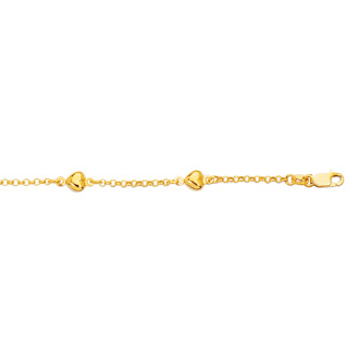 14 Karat Yellow Gold 6 Inch Children's Shiny Rolo Chain Link & Puffed Heart Bracelet