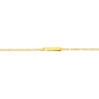 14 Karat Yellow Gold 6 Inch Children's Shiny Classic Figaro ID Bracelet