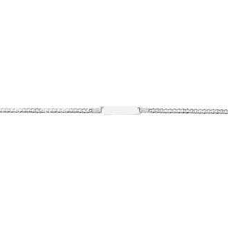 14 Karat White Gold 6 Inch Children's Shiny Curb Link ID Bracelet