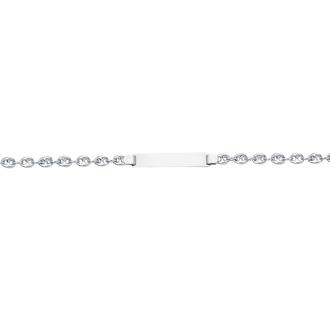 14 Karat White Gold 6 Inch Children's Shiny Puffed Mariner Link ID Bracelet