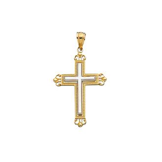 14 Karat Yellow & White Gold 38x22.9 Shiny White Cross Inside Fancy Yellow Cross