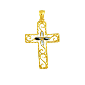 14 Karat Yellow & White Gold 37x21mm Shiny Diamond Cut Fancy Beaded Cross