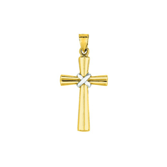 14 Karat Yellow & White Gold 34x16.5mm Shiny Fancy Cross Pendant