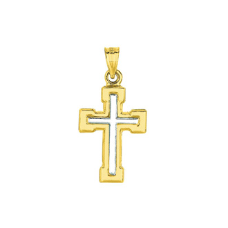 14 Karat Yellow & White Gold 26x13.5mm Shiny Small White Cross Pendant in Yellow Cross