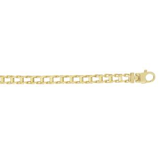 14 Karat Yellow Gold 5.0mm 8.50 Inch Shiny Railroad Style Men's Fancy Bracelet