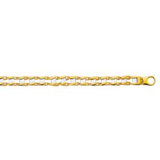 14 Karat Yellow & White Gold 8.50 Inch Railroad Type Men's Bracelet