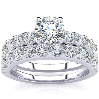 2 Carat Round Center Engagement Ring and Wedding Band Set in 14K White Gold