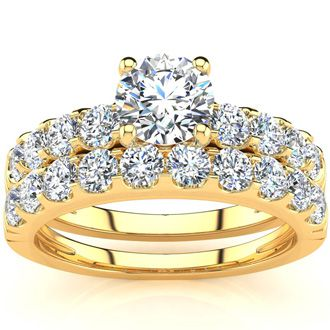 2 Carat Round Center Engagement Ring and Wedding Band Set In 14K Yellow Gold