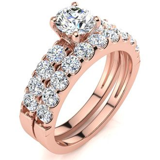 2 Carat Round Center Engagement Ring and Wedding Band Set In 14K Rose Gold