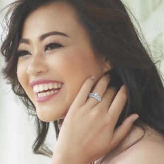 2 Carat Princess Center Engagement Ring and Wedding Band Set In 14K White Gold