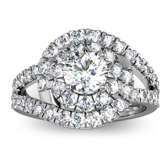 2 1/4 Carat Bypass Round Halo Diamond Engagement Ring in 14 Karat White Gold