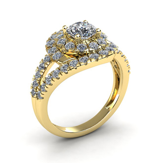 2 1/4 Carat Bypass Round Halo Diamond Engagement Ring in 14 Karat Yellow Gold