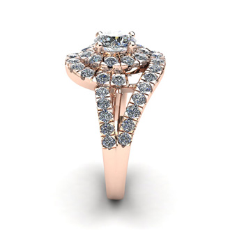 2 1/4 Carat Bypass Round Halo Diamond Engagement Ring in 14 Karat Rose Gold