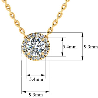 7/8ct Halo Diamond Necklace In 14K Yellow Gold