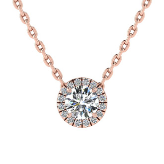 1/2ct Halo Diamond Necklace In 14K Rose Gold
