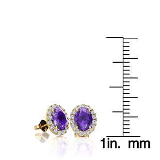 1 Carat Oval Shape Amethyst and Halo Diamond Stud Earrings In 10 Karat Yellow Gold