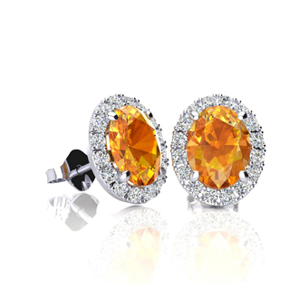1 Carat Oval Shape Citrine and Halo Diamond Stud Earrings In 14 Karat White Gold