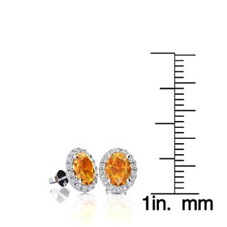 1 Carat Oval Shape Citrine and Halo Diamond Stud Earrings In 14 Karat White Gold