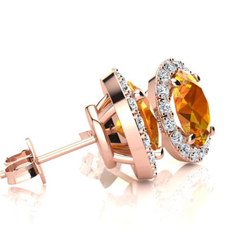 1 Carat Oval Shape Citrine and Halo Diamond Stud Earrings In 10 Karat Rose Gold