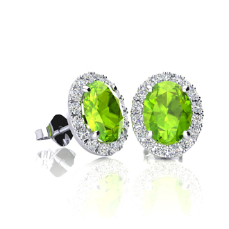 1 Carat Oval Shape Peridot and Halo Diamond Stud Earrings In 10 Karat White Gold