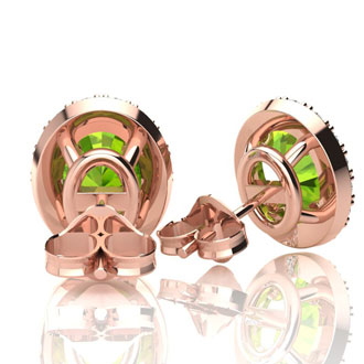 1 Carat Oval Shape Peridot and Halo Diamond Stud Earrings In 10 Karat Rose Gold