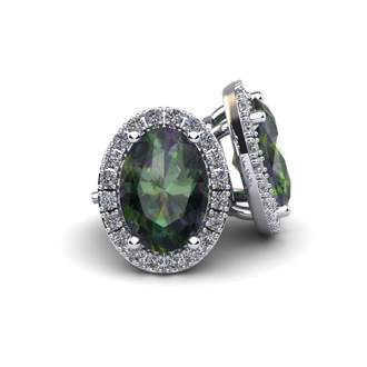 1 1/4 Carat Oval Shape Mystic Topaz and Halo Diamond Stud Earrings In 14 Karat White Gold