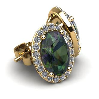 1 1/4 Carat Oval Shape Mystic Topaz and Halo Diamond Stud Earrings In 10 Karat Yellow Gold