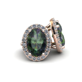 1 1/4 Carat Oval Shape Mystic Topaz and Halo Diamond Stud Earrings In 10 Karat Rose Gold