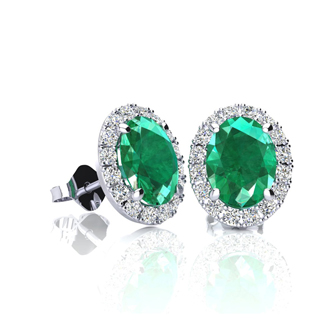 1 Carat Oval Shape Emerald and Halo Diamond Stud Earrings In 10 Karat White Gold