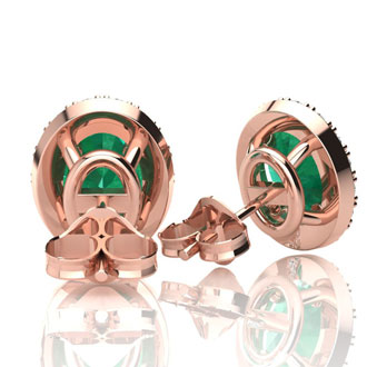 1 Carat Oval Shape Emerald and Halo Diamond Stud Earrings In 14 Karat Rose Gold