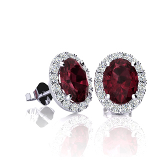 1 1/4 Carat Oval Shape Garnet and Halo Diamond Stud Earrings In 14 Karat White Gold