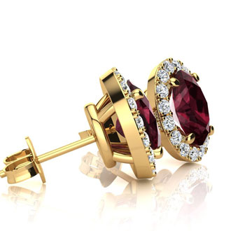 1 1/4 Carat Oval Shape Garnet and Halo Diamond Stud Earrings In 14 Karat Yellow Gold